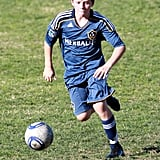 Brooklyn Beckham showed his aptitude for soccer.