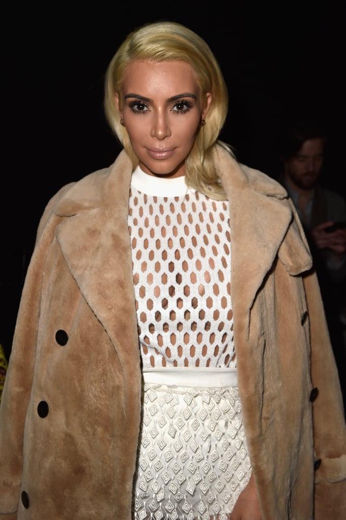 Kim debuted platinum blonde hair during Paris Fashion Week in March 2015.