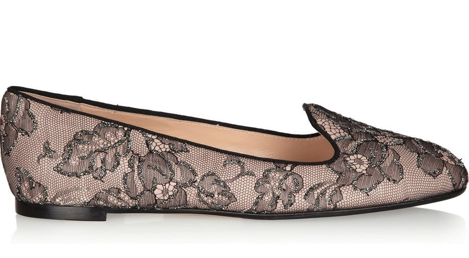 We're already taken with Valentino's lace-embellished espadrilles, so it should come as no surprise that we're crushing on its latest smoking slipper venture. Valentino Embellished Lace and Leather Loafers ($695)