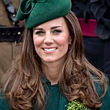 Kate wore green head to toe at the St. Patrick's Day parade in 2014, including a hat by Gina Foster.