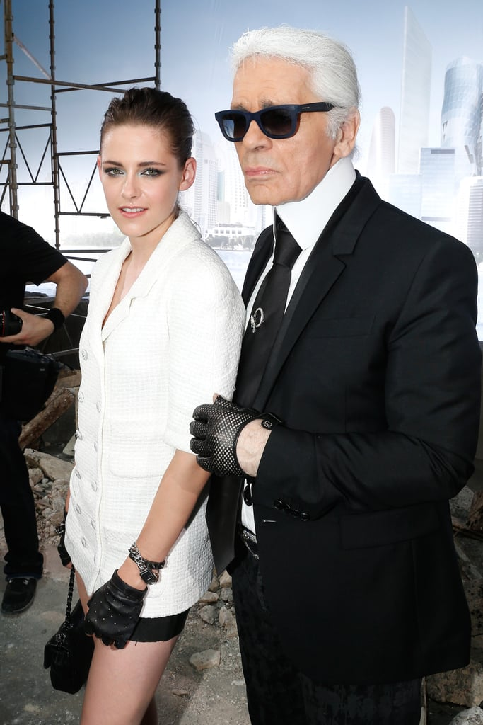 Kristen Stewart and Karl Lagerfeld shared a shot on the runway of the Chanel Haute Couture show.