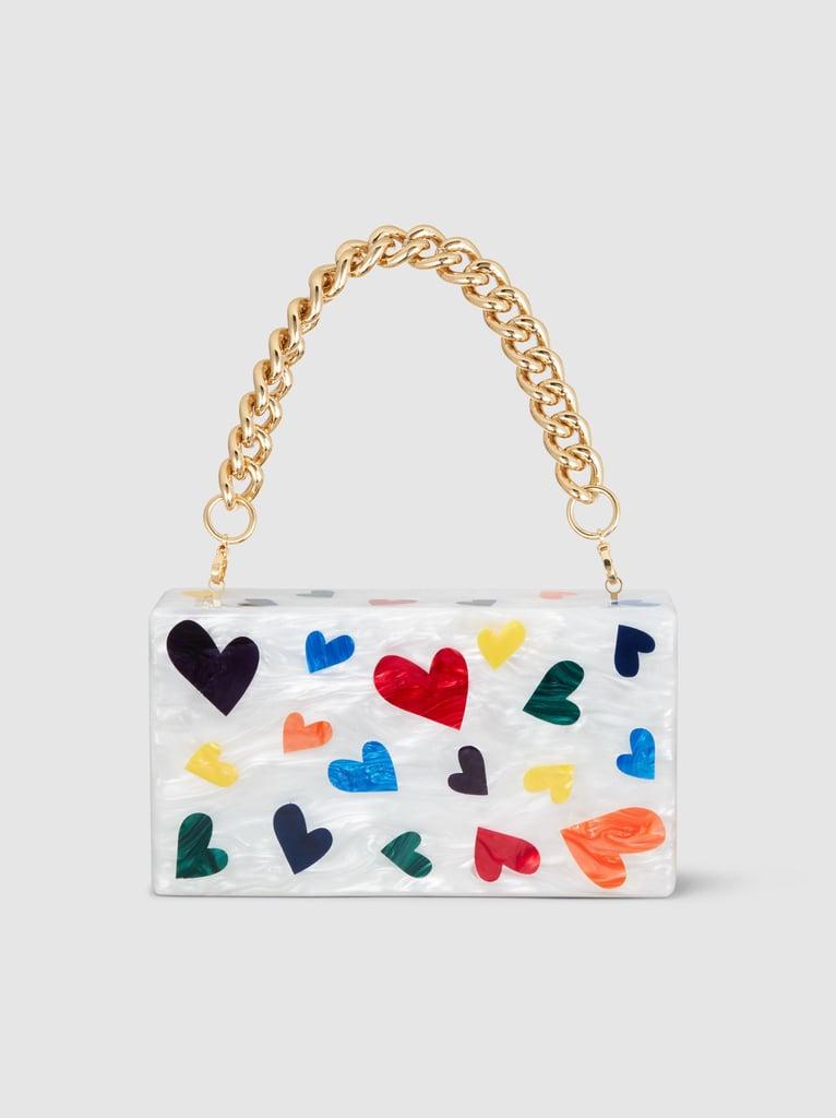 Edie Parker Jean Mini Hearts Acrylic Clutch