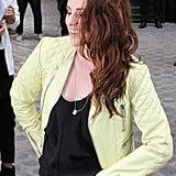 Kristen Stewart had a smile on her face as she arrived at Balenciaga's Fashion Week show in Paris.