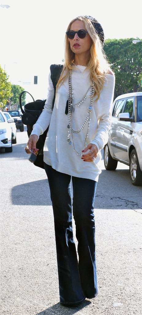 Rachel Zoe layered on the necklaces for a day out in LA.