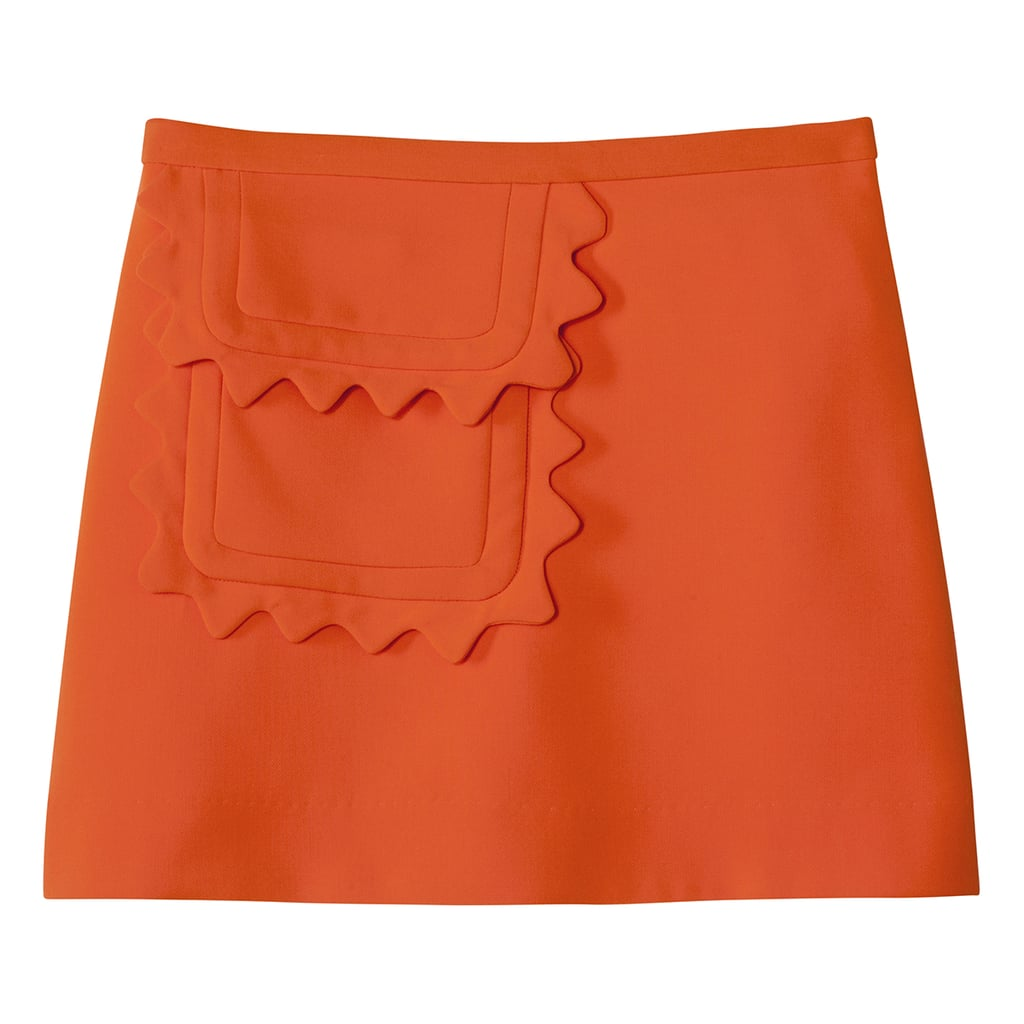 Orange Twill Skirt with Scallop Trim Pocket ($30)