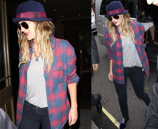 Pictures of Drew Barrymore In a Plaid Shirt In London