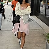 Rihanna wore a short skirt.