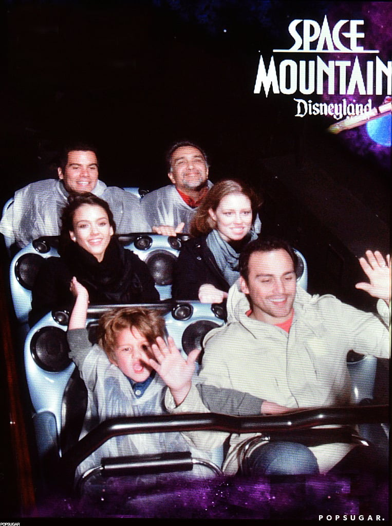 Jessica Alba and Cash Warren rode Space Mountain at Disneyland.