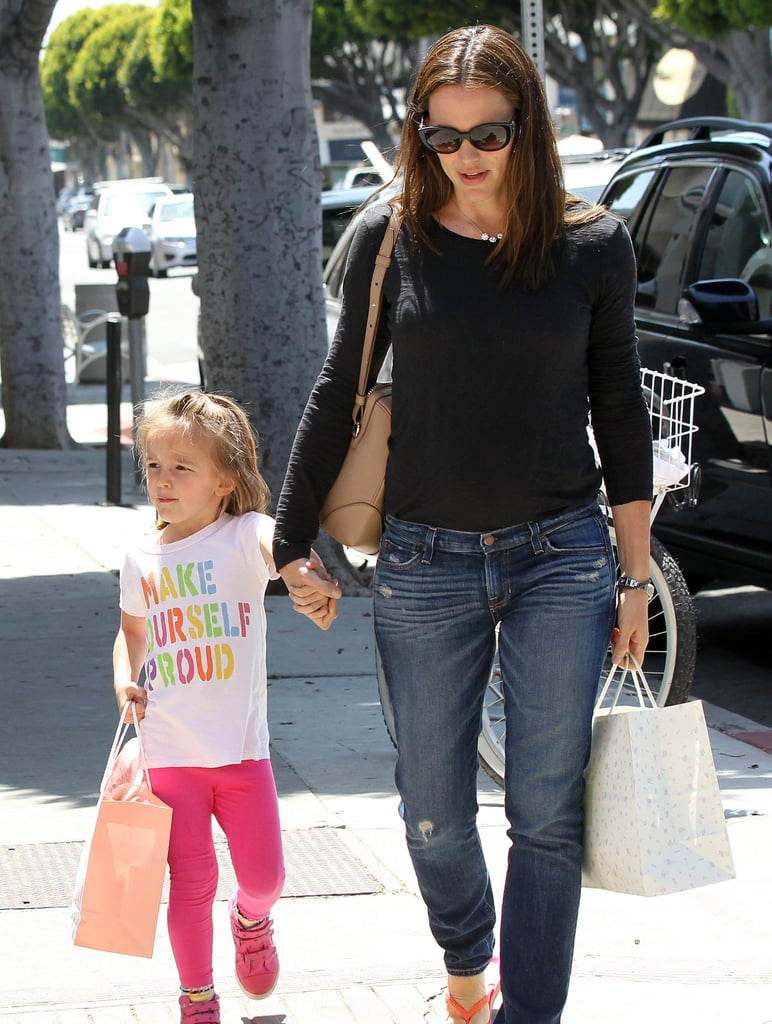 Jennifer Garner and Seraphina Affleck both carried shopping bags in LA on Thursday.