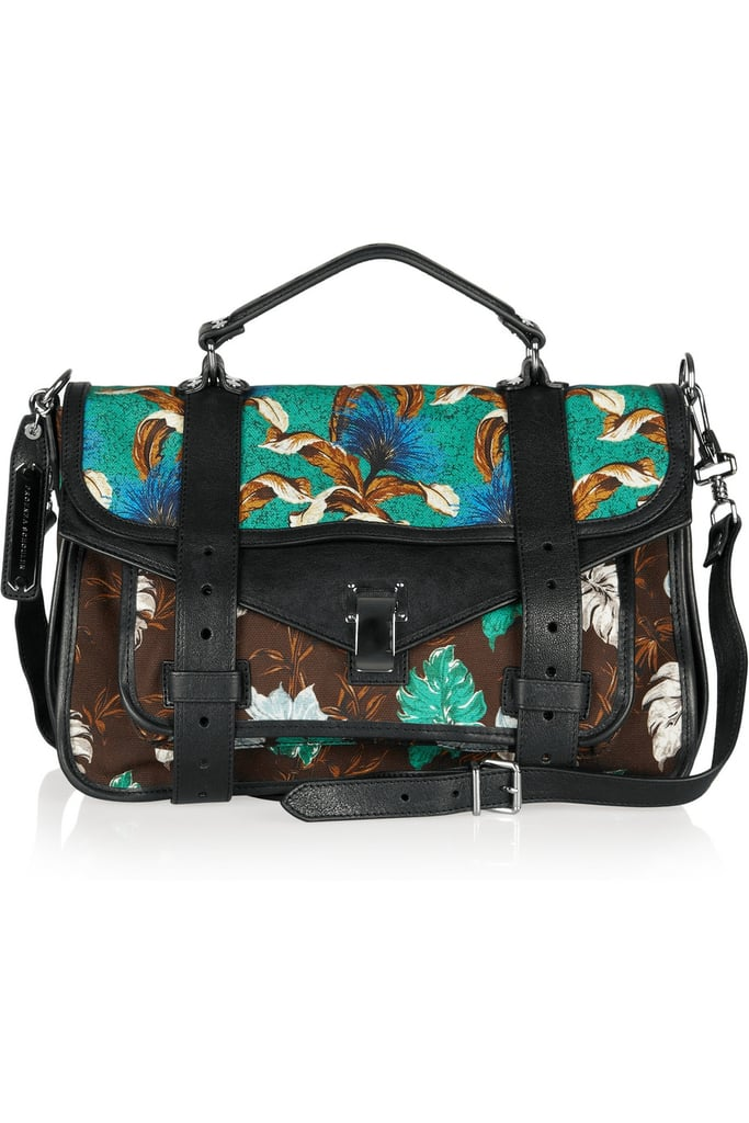This gorgeous printed Proenza Schouler bag is worth every penny.  Proenza Schouler PS1 Medium Printed Canvas and Leather Satchel ($1,299, originally $1,855)