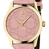 Gucci G-Timeless Logo Leather Strap Watch