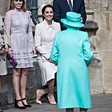 Greeting the queen alongside Kate Middleton and Prince William ahead of the Easter Day Service in 2017.