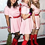 TV personality Ashley Holliday, left, and actress Magda Apanowicz, center, look too cute as the girls of A League of Their Own!