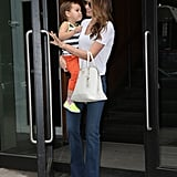 Mama's Boy Flynn Gives Miranda Kerr a Big Wet One