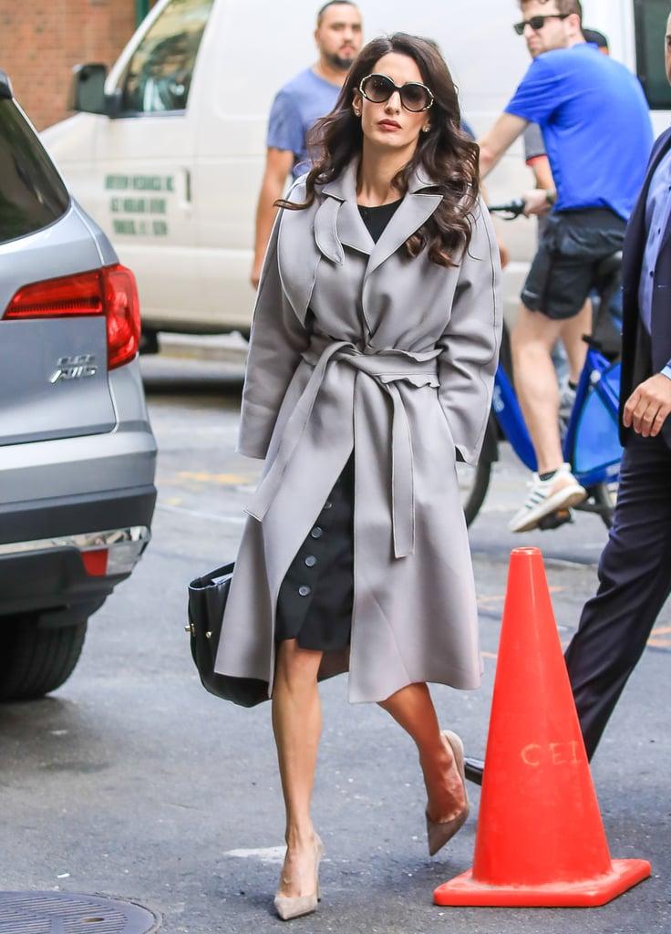 Amal Clooney Gray Trench Coat