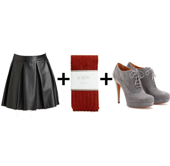 Every girl should have a leather miniskirt in her arsenal. Spice it up for Winter with red tights and gray lace-up booties. Get the look:  Boundary & Co. pleated faux leather skirt ($99) J.Crew red wool tights ($27) Gucci gray lace-up platform booties ($734)