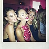 Behati Prinsloo, Candice Swanepoel, and Erin Heatherton gathered at the Victoria's Secret Runway Show viewing event. Source: Twitter user BeePrinsloo