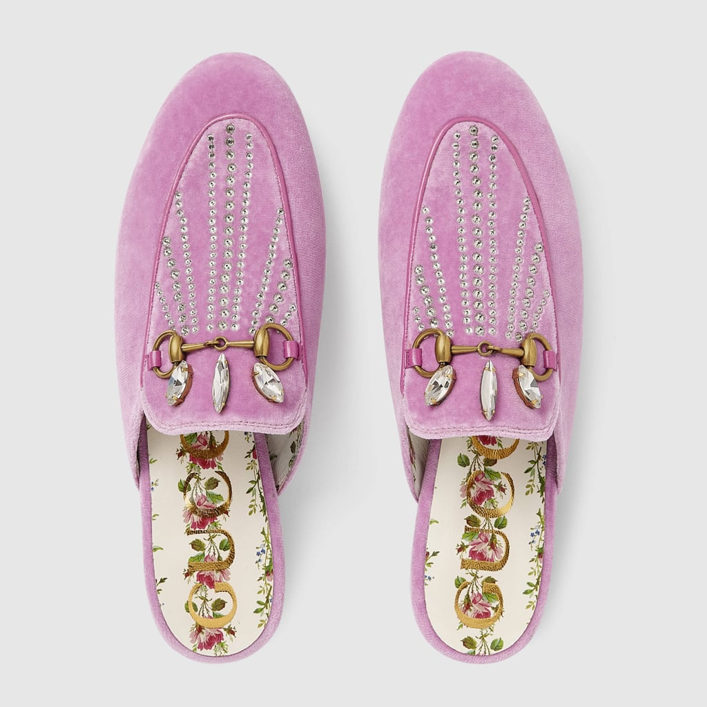 51cd53b7758 Gucci Princetown Velvet Slipper With Crystals | Best Gucci Shoes ...