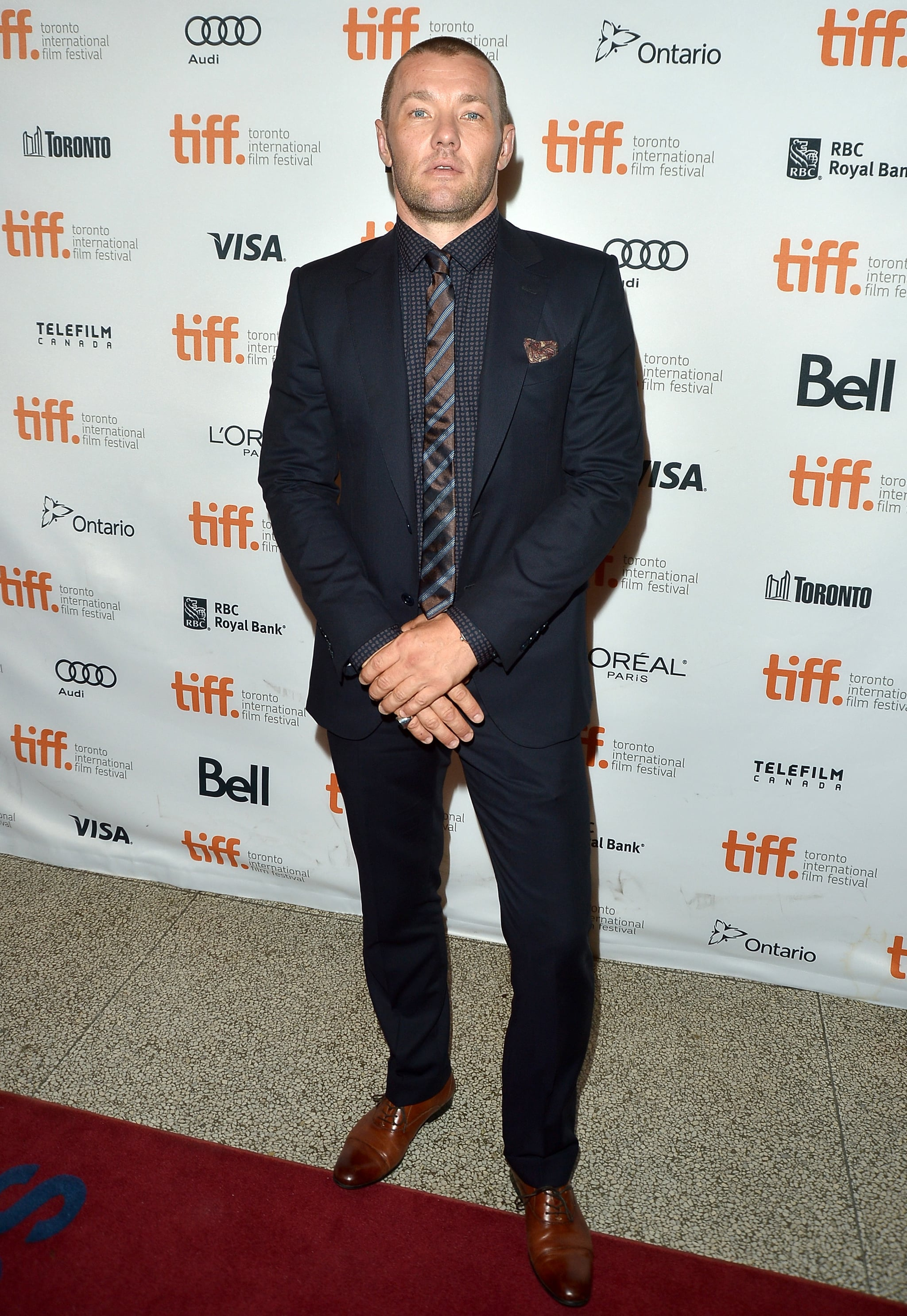 Joel Edgerton showed off his shaved head at the Felony premiere.
