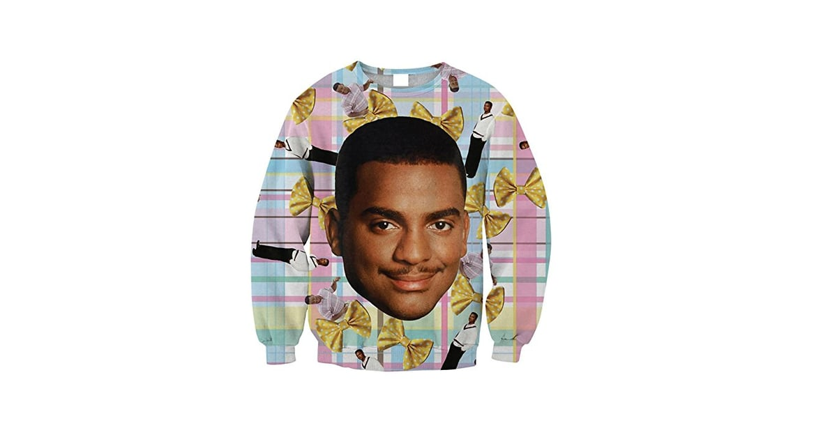 plaid carlton ugly christmas sweater fresh prince of bel air ugly christmas sweaters popsugar entertainment photo 4