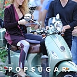 Blake Lively and Penn Badgley rode a Vespa during a scene for Gossip Girl.