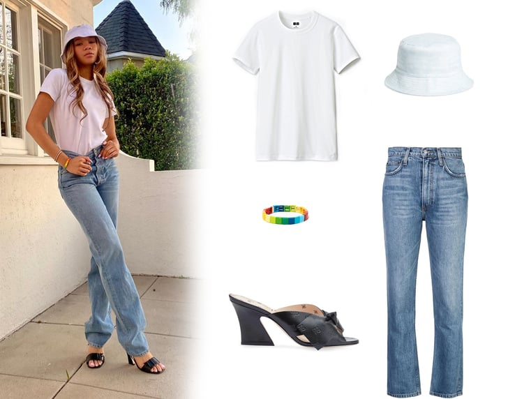 Storm Reid's Reformation Jeans, Bucket Hat, and Fendi Slides