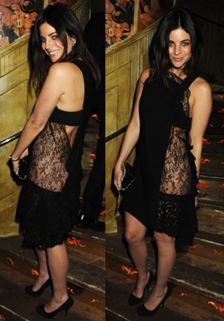 Julia Restoin-Roitfeld Attends London Fashion Week Event in Sexy Lace Dress