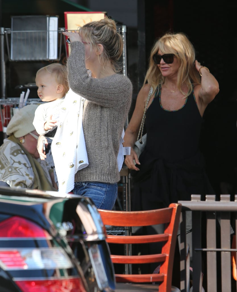 Kate Hudson brought Bingham Bellamy to celebrate her mom Goldie Hawn's birthday in LA.