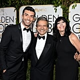 Jane the Virgin star Justin Baldoni had his parents, Sam and Sharon, by his side on the Golden Globes red carpet.