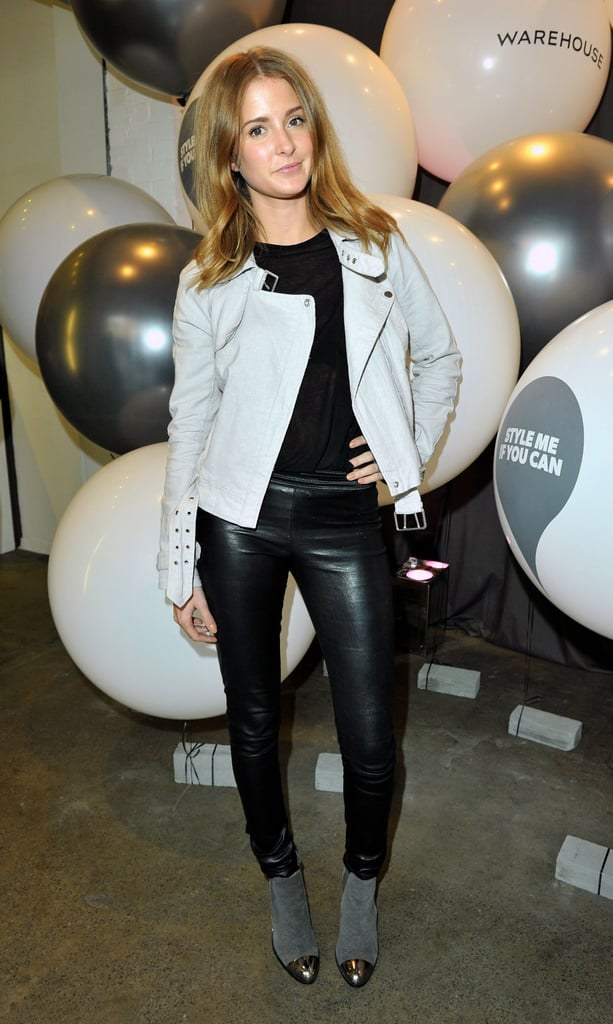 fbc566a5 Leather trousers (a Made in Chelsea staple) and a white biker jacket made up