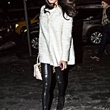 Styling Her White Tweed Coat With Edgy Leather Pants