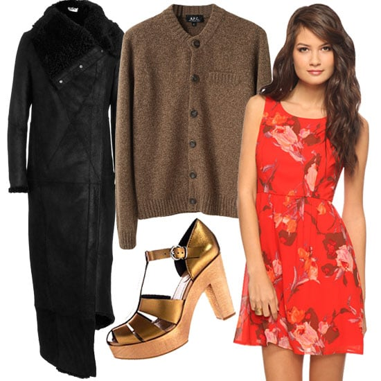 Get the long and short of it in one go — this floral mini paired with brown herringbone tights, an oversized quilted coat, metallic sandals, and chunky sweater provides a healthy dose of girlie fun and textured edge.  Forever21 Painted Rose Dress ($23) HUE Herringbone Texture Tights Style #U11613 ($14) A.P.C/ Classic Melange Cardigan ($385) Helmut Lang Quilted Trench ($3,250) Madewell Metallic High Road Sandal ($158)