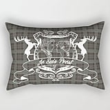 Plaid Pillow With 'Je Suis Prest' Crest ($27)
