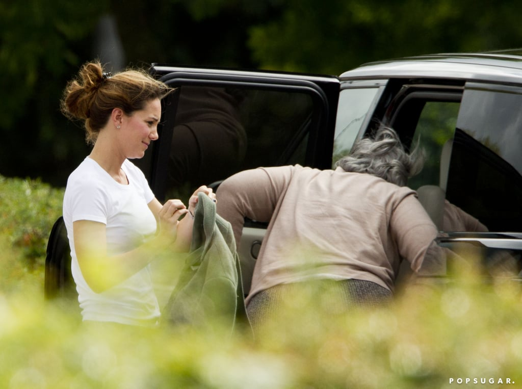 Kate Middleton checked on Prince George in the car.