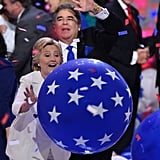 Hillary was having her own fun, having finally upgraded from the small red balloons to the giant printed blue ones.