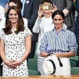 July: Meghan joined her sister-in-law Kate to watch pal Serena Williams's match at Wimbledon.