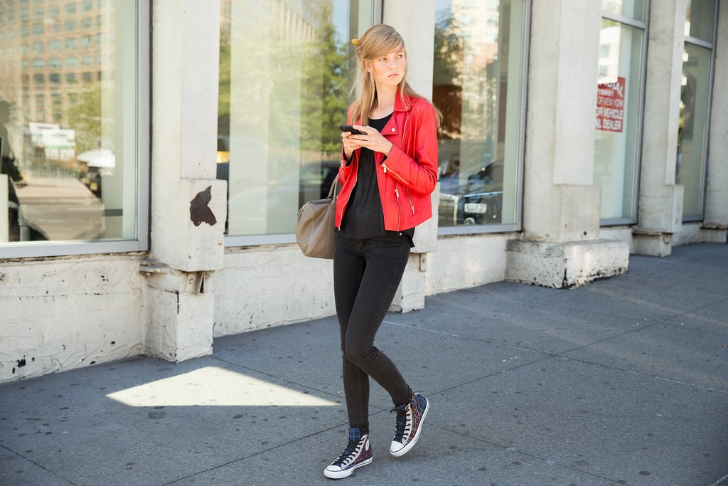 Jeggings (Yes, Really) You Can Tuck Into Your High-Tops and a Vibrant Moto Jacket