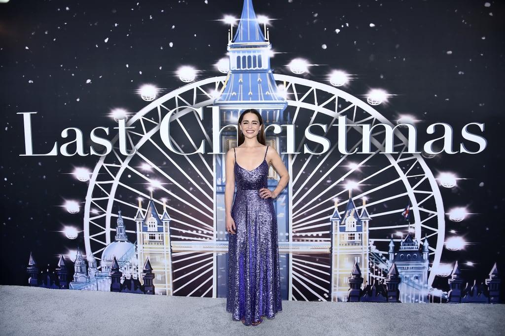 Emilia Clarke's Dress Looks Like a Sparkly Purple Ornament
