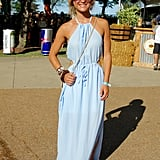 Symmetrical cutouts made this otherwise simple icy-blue dress a real head turner.