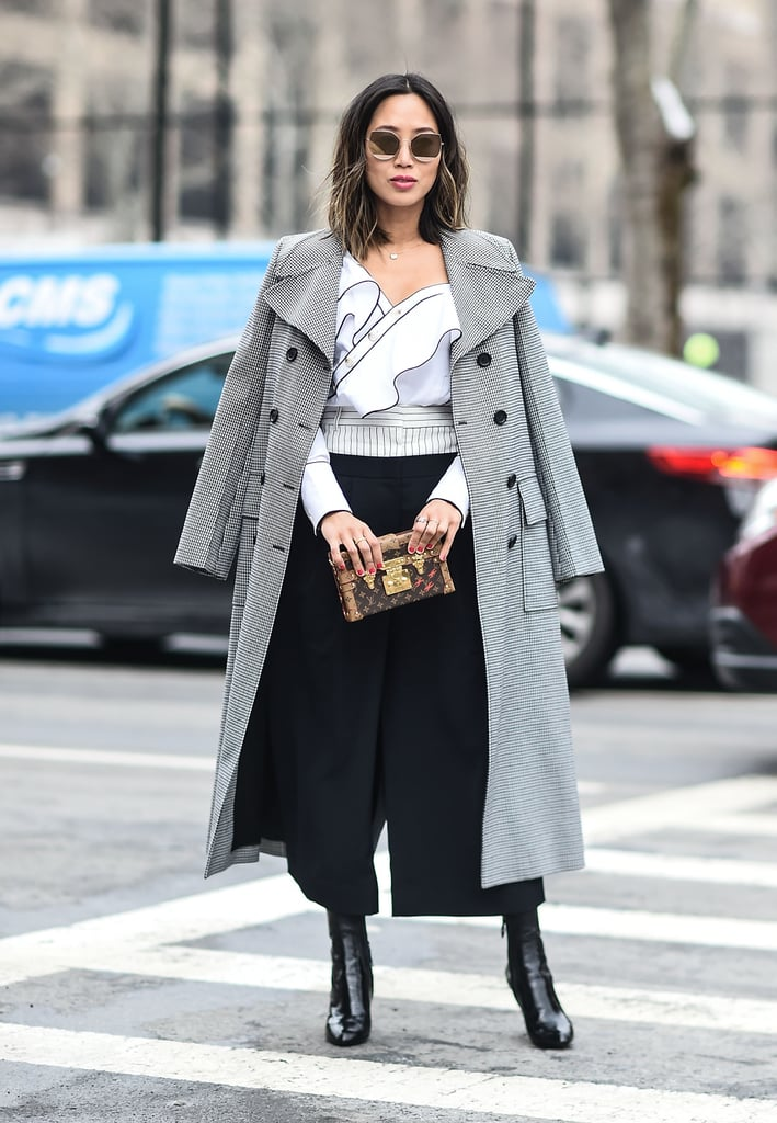 A Ruffled Top, Black Culottes, a Classic Coat, and Ankle Boots