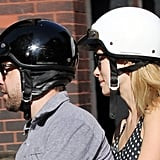 Olivia Wilde and Jason Sudeikis both looked cute in their helmets as they took a ride around NYC.