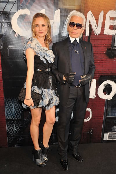 Diane Kruger strikes a pose with Karl Lagerfeld.