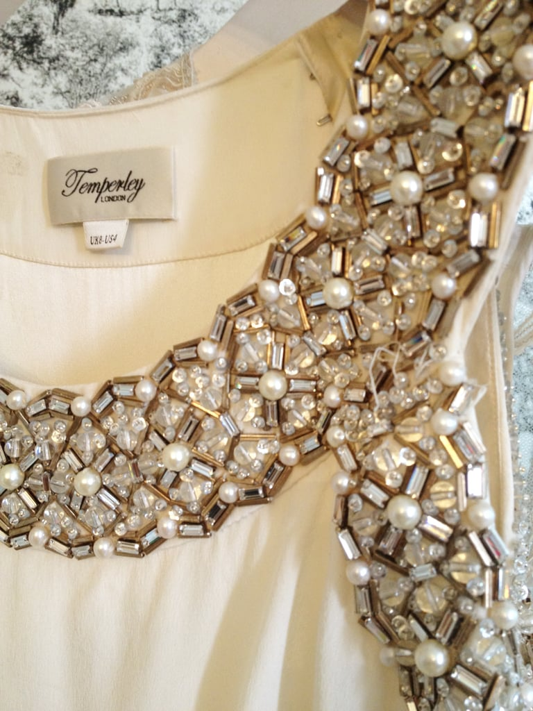 The beaded detail on a silk-crepe gown.