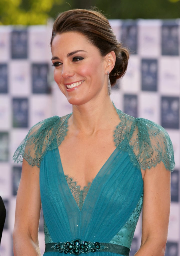 Kate's dress by one of her favourite British designers had beautiful a lace bodice embellished with Swarovski crystals.