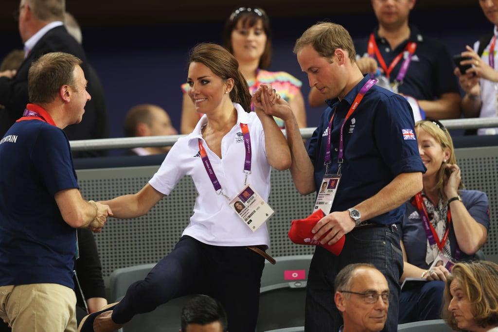 Prince William helped Kate balance.