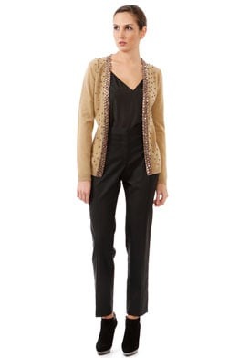 Valentino Camel Embellished Long Sleeve Wool Cardigan ($930)