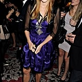 As far as party dressing goes, Princess Beatrice was right on in a satin bustier-style strapless dress for a birthday party in London in 2011.