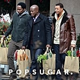 Taye Diggs, Terrence Howard, and Harold Perrineau carried grocery bags while filming scenes for The Best Man Holiday in Toronto on Monday.
