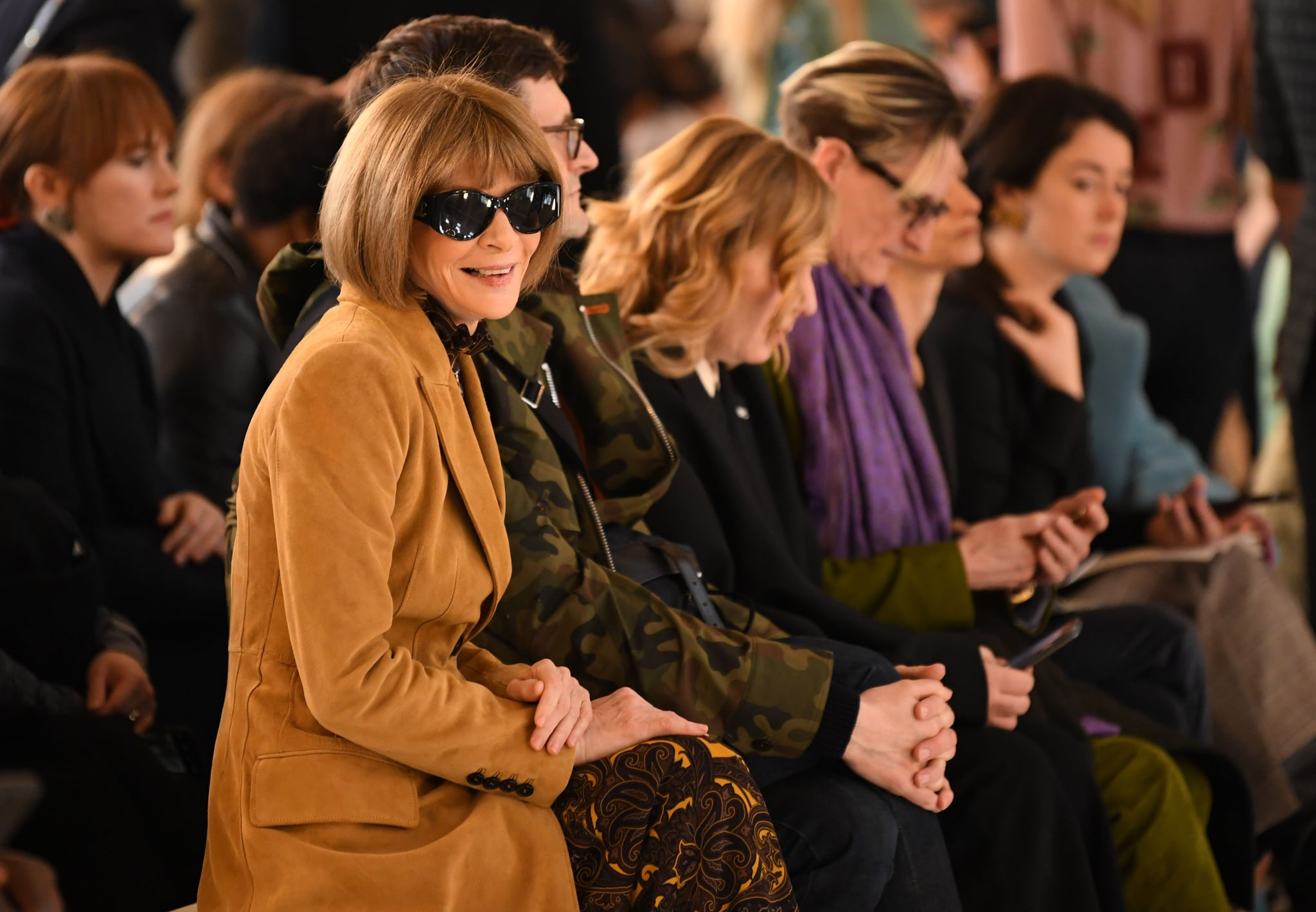 Vogue chief editor Anna Wintour takes her seat in the front row for the catwalk show by fashion house Victoria Beckham during their Autumn/Winter 2020 collection on the third day of London Fashion Week in London on February 16, 2020. (Photo by DANIEL LEAL-OLIVAS / AFP) (Photo by DANIEL LEAL-OLIVAS/AFP via Getty Images)