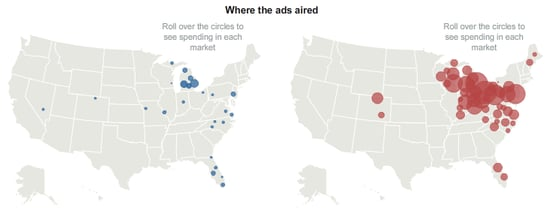Interactive Info on Ads: Who Spent How Much & Where